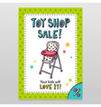 Toy shop sale flyer design with high baby feeding vector image vector image