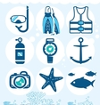 Underwater icons vector image vector image