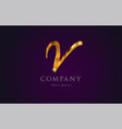 v gold golden alphabet letter logo icon design vector image vector image
