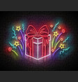 vintage glow signboard with gift and confetti vector image vector image