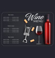 wine menu list template with bottle glass vector image