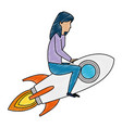 young woman working with rocket vector image vector image