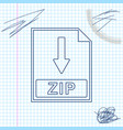 zip file document icon download zip button line vector image vector image