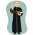 angry senior priest holding holy bible and cross vector image