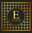 luxury and elegant gold e font and geometric vector image