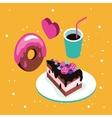 Sweet menu Delicious dessert cake chocolate donut vector image