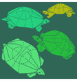 Origami turtles drawing set vector image