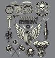Set of Vintage Motorcycle Elements vector image