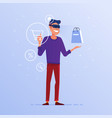 a caucasian man in vr headset doing online vector image vector image