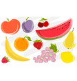 abstract watercolor fruits design set vector image