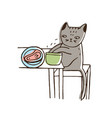 adorable cat stealing food from plate lying on vector image