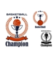 Basketball champion emblems with items vector image vector image