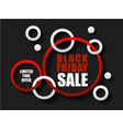black friday sale banner with red and white rings vector image vector image