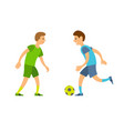 boys playing football people running with ball vector image