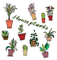 Bright set of house plants in pots with an inscrip vector image vector image
