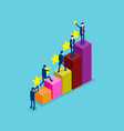 business growth graph with team development vector image vector image