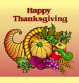 card for thanksgiving with a cornucopia fruits vector image
