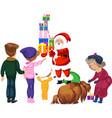 cartoon cheerful santa claus gifts boxes vector image