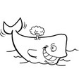 cartoon smiling whale with a blow spout vector image vector image