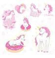 cartoon unicorns magic objects set unicorns vector image