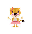 colorful caricature of cute expression lioness in vector image vector image