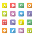 colorful icon set 6 rounded rectangle long shadow vector image vector image