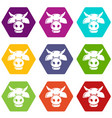 cow head icons set 9 vector image vector image