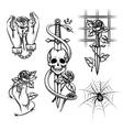 criminal tattoo rose in hands knife behind vector image vector image