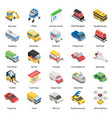 different means transportation in isometric st vector image