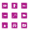 distress signal icons set grunge style vector image vector image
