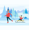 family leisure with sleigh in winter time vector image vector image