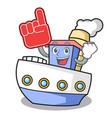 foam finger ship mascot cartoon style vector image vector image