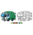 funny garbage truck car with eyes coloring book vector image vector image