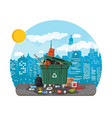 garbage bin full of trash overflowing container vector image vector image