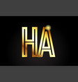 gold alphabet letter ha h a logo combination icon vector image vector image