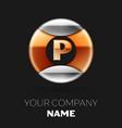 golden letter p logo in silver-golden circle vector image