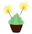 green cupcake on white background vector image vector image