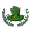 green hat accessory st patrick with branches vector image vector image