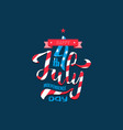 hand lettering july 4th independence day usa vector image vector image