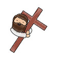 holy jesuschrist with cross character icon vector image