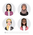 icons set multiracial female call center vector image