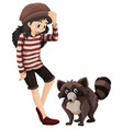little girl and cute racoon vector image vector image