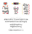 love quotes and script vintage lettering font vector image vector image