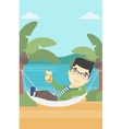 Man chilling in hammock with cocktail vector image vector image