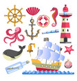 marine symbols underwater animals and ship with vector image vector image