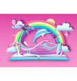 open fairy tale book with dolphin and tropic vector image