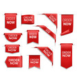 order now red banners realistic ribbons vector image