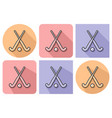 outlined icon of field hockey with parallel and vector image vector image