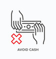 paper money avoid line icon outline vector image vector image