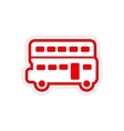 Paper sticker British double-decker bus on white vector image